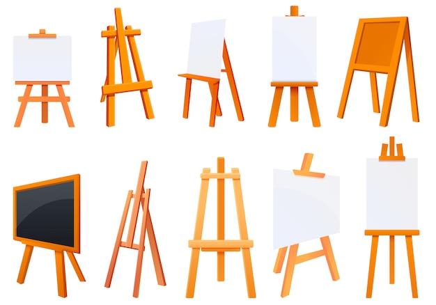 Schildersezel iconen set, cartoon stijl