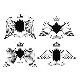 Schildontwerp met vleugels vector collecties