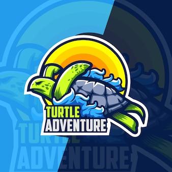 Schildpad avontuur mascotte esport logo ontwerp