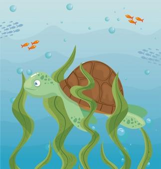 Schildpad en leven in zee, oceaanbewoners, schattige onderwaterwezens, onderzeese fauna