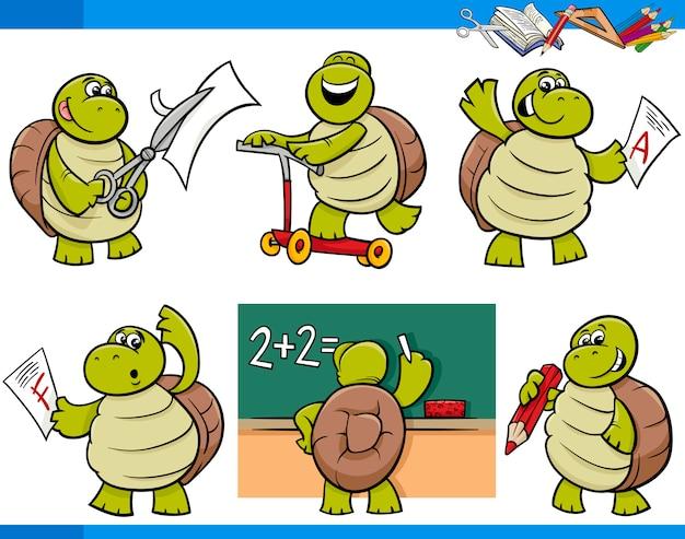 Schildpad karakter student cartoon ingesteld