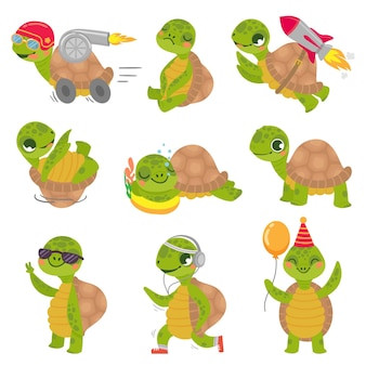 Schildpad kind. schattige kleine groene schildpaddenmascotte, snelle raketschildpad en slapende schildpadillustratieset.
