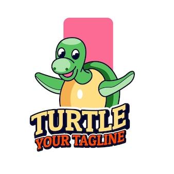 Schildpad leuke mascottes logo afbeelding