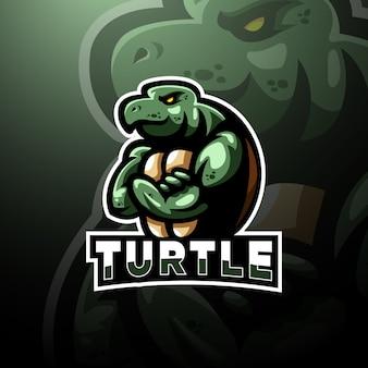 Schildpad logo esport sjabloon