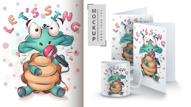 Schildpad met microfoonposter en merchandising