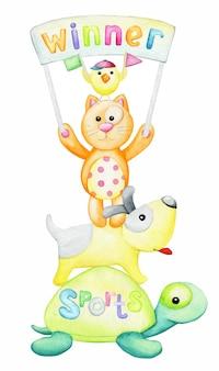 Schildpad, muis, kat, kip, hond, banner met de woordwinnaar. aquarel concept