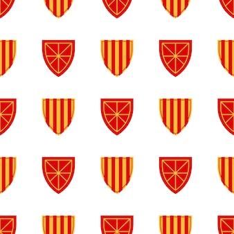 Schildpatroon herhaal naadloos patroon. middeleeuws koninklijk heraldisch patroon met wapen voor textiel, plakboek, affiches, boeken. vector illustratie