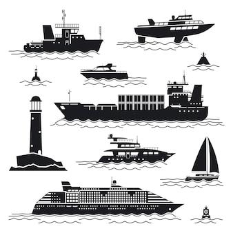 Schip en bootset. voering en container, vrachtschip en boei, vuurtoren en jacht