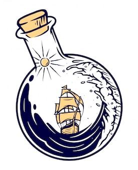 Schip in een fles illustratie