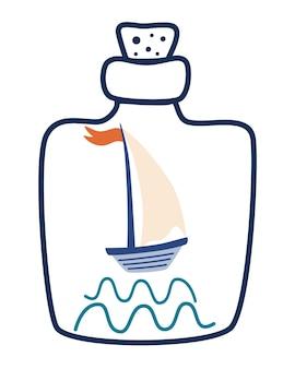 Schip in een fles zomervakantie concept reizen zeereis avontuur concept