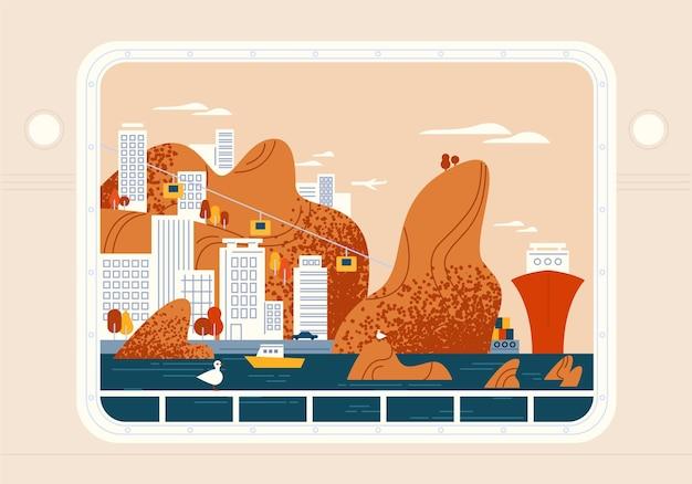 Schip, jacht of zeeschip raam uitzicht op prachtige badplaats, stedelijk landschap.