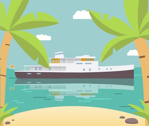 Schip jacht zomer tropisch eiland palmboom.