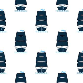 Schip met verhoogd zeilen naadloos patroon. icoon voor een plezierboot, watervracht, marine club of restaurant.