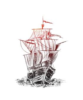 Schip met zeilen hand getrokken schets vectorillustratie