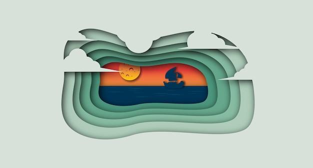 Schip op de oceaan papier cut stijlachtergrond