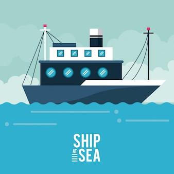 Schip op zee pictogram