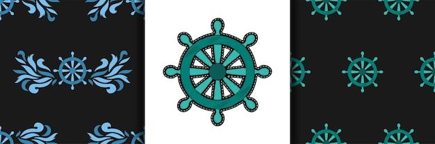 Schip stuurwiel borduurwerk naadloos patroon
