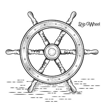 Schip stuurwiel vintage vectorillustratie