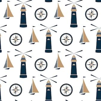Schip, vuurtoren en zeekompas naadloos patroon.