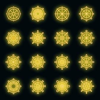 Schip wiel pictogrammen instellen. overzicht set van schip wiel vector iconen neon kleur op zwart