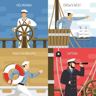 Schipbemanning 4 pictogrammen concept