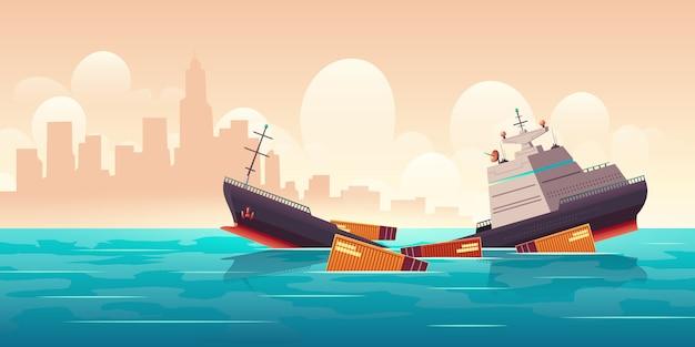 Schipbreuk van vrachtschip, schip dat in oceaan daalt