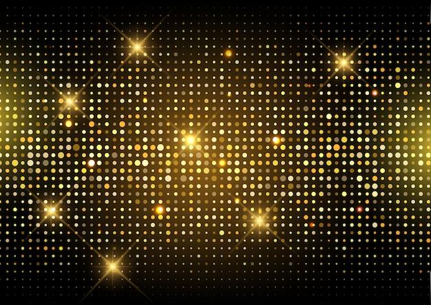 Schitter de gouden achtergrond van discolichten