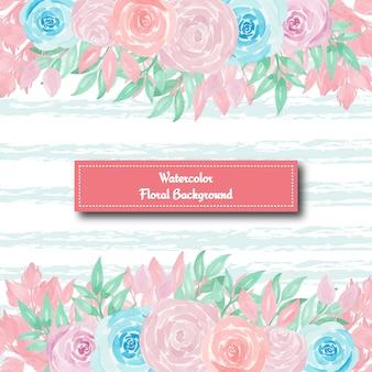 Schitterende bloemenachtergrond met blauwe en roze rozen