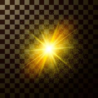 Schitterende ster schijnt. ontwerp magisch licht met sparkles geïsoleerd op transparante achtergrond. mystieke flits van kerstfantasie