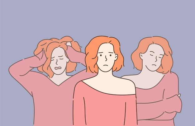 Schizofrenie en psychische stoornis. jonge mooie trieste vrouw die lijdt aan meerdere persoonlijkheidsstoornissen. dissociatieve identiteitsstoornis