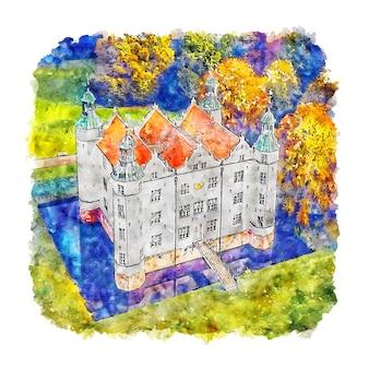 Schloss ahrensburg duitsland aquarel schets hand getrokken illustratie