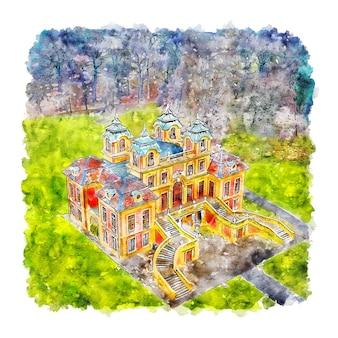 Schloss favoriete duitsland aquarel schets hand getrokken illustratie