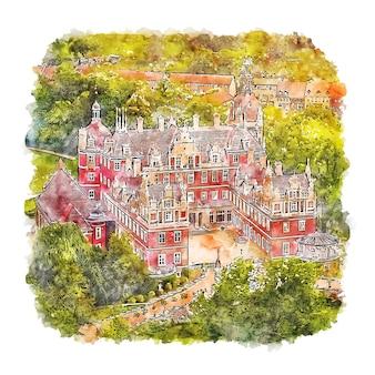 Schloss muskau duitsland aquarel schets hand getrokken illustratie