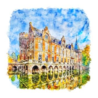 Schloss paffendorf duitsland aquarel schets hand getrokken illustratie