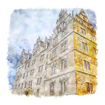 Schloss wolfsburg duitsland aquarel schets hand getrokken illustratie