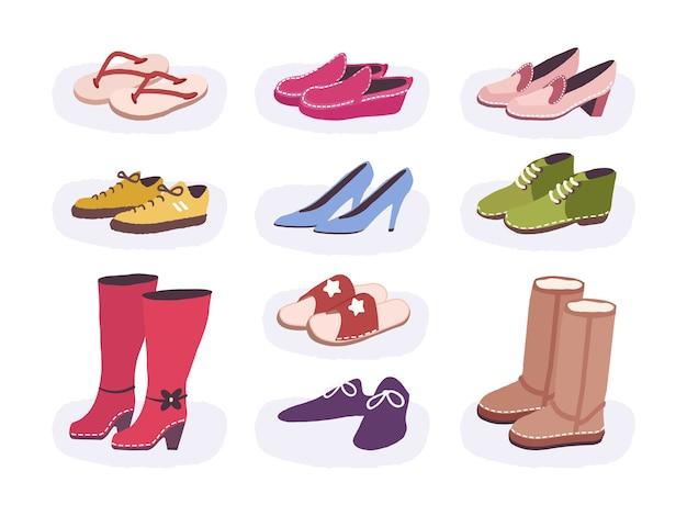 Schoeisel platte gekleurde iconen set van mannelijke en vrouwelijke schoenen. laarzen voor verschillende seizoenen. geïsoleerde vlakke stijl illustratie.