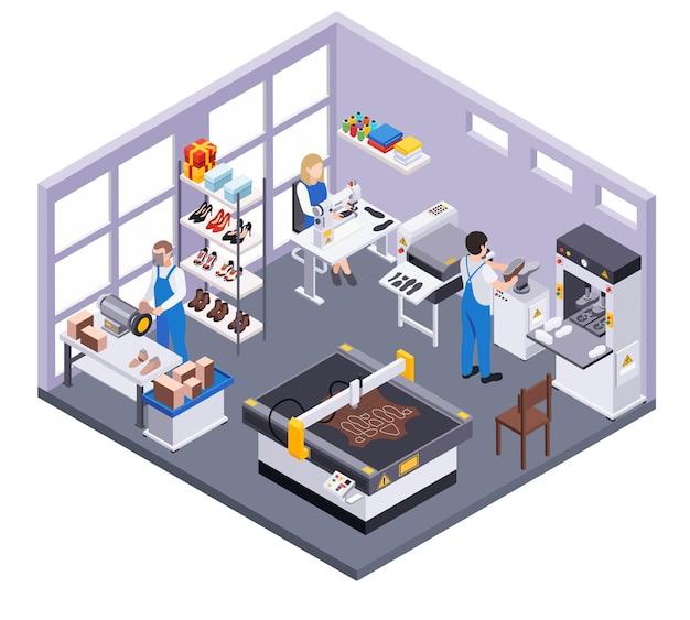 Schoeisel schoenen productie isometrische compositie met binnen uitzicht op kamer met ontwerpers en fabrieksarbeiders karakters illustratie