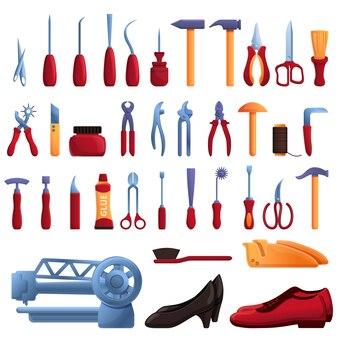 Schoen reparatie iconen set, cartoon stijl