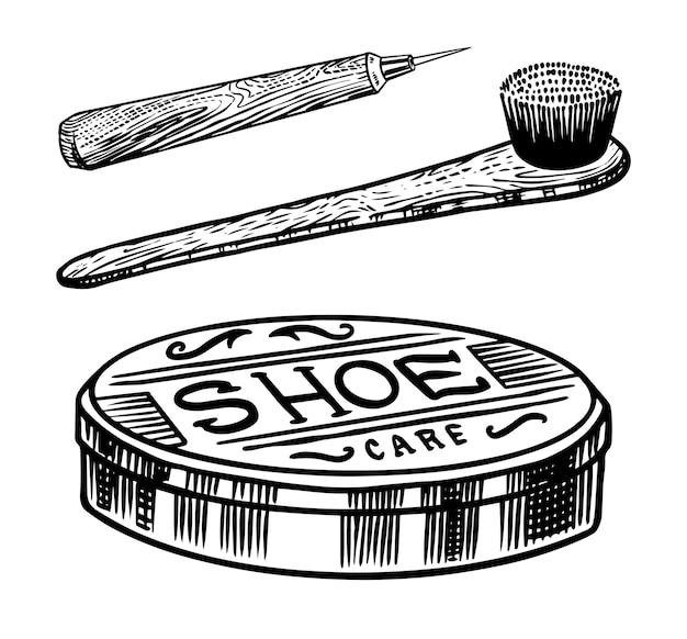 Schoencrème en borstel voor het reinigen van de zolen