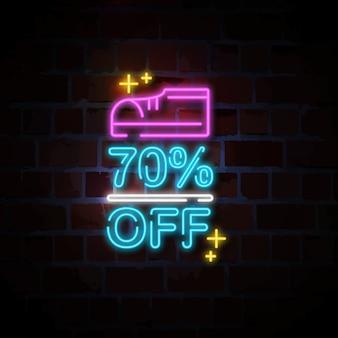 Schoenen 70% korting op neonreclame illustratie