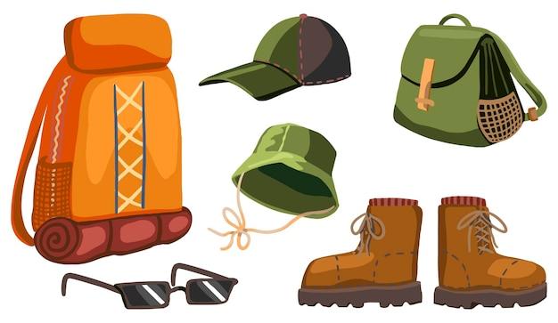 Schoenen, accessoires, tassen om te wandelen, outdoor avonturenset, kampeeruitrusting. hand getekende vectorillustraties. kleurrijke cartoon cliparts geïsoleerd op wit. voor ontwerp, print, decor, kaart, sticker.