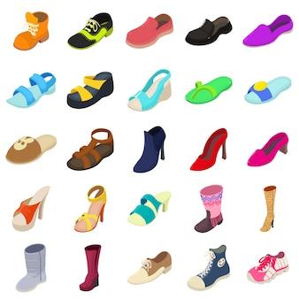Schoenen mode typen pictogrammen instellen. isometrische illustratie van 25 schoenen fashion types vector iconen voor web
