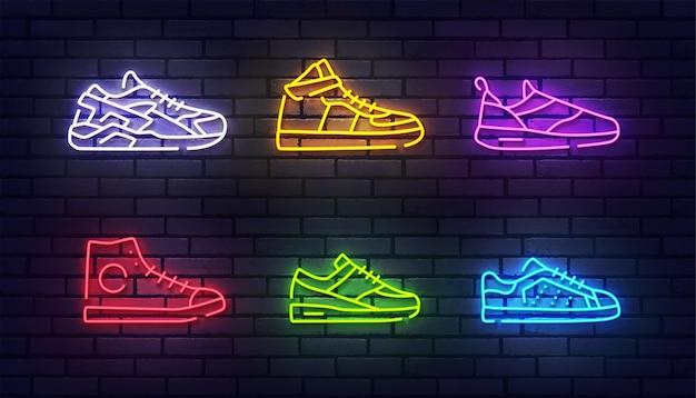 Schoenen neon teken