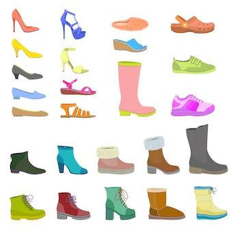 Schoenen pictogrammenset, vlakke stijl