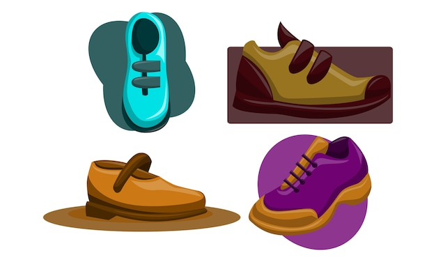 Schoenen terug naar school sjabloon vector set