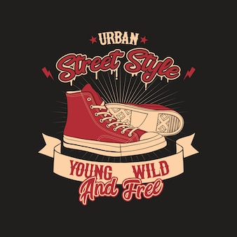 Schoenen urban style badge illustration