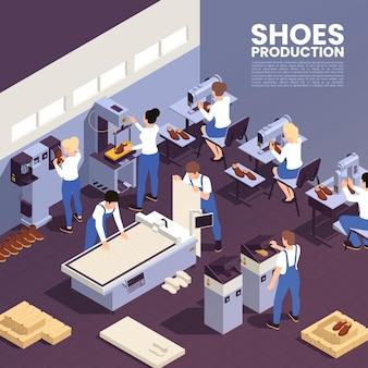 Schoenenproductie achtergrond met schoeisel symbolen isometrische illustratie