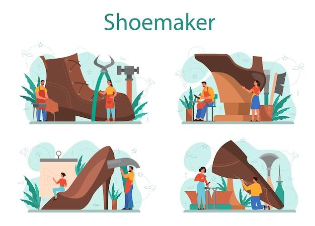 Schoenmaker concept set. mannelijk en vrouwelijk personage dat een schort draagt