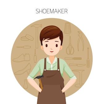Schoenmaker met overzicht iconen set schoenen reparatie tool en accessoires