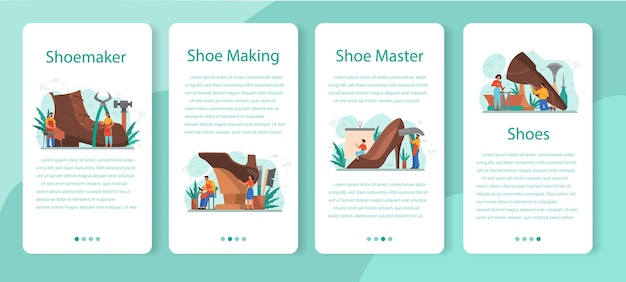 Schoenmaker mobiele applicatie banner set